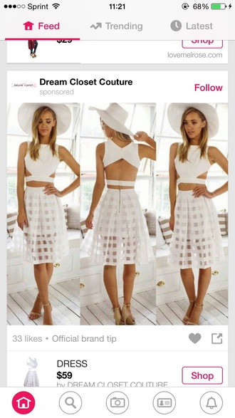 skirt all white everything white skirt white hat white shirt nude pumps