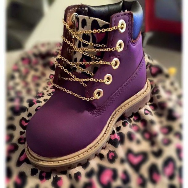 Shoes Leopard Print Girl Toddler Boots Purple