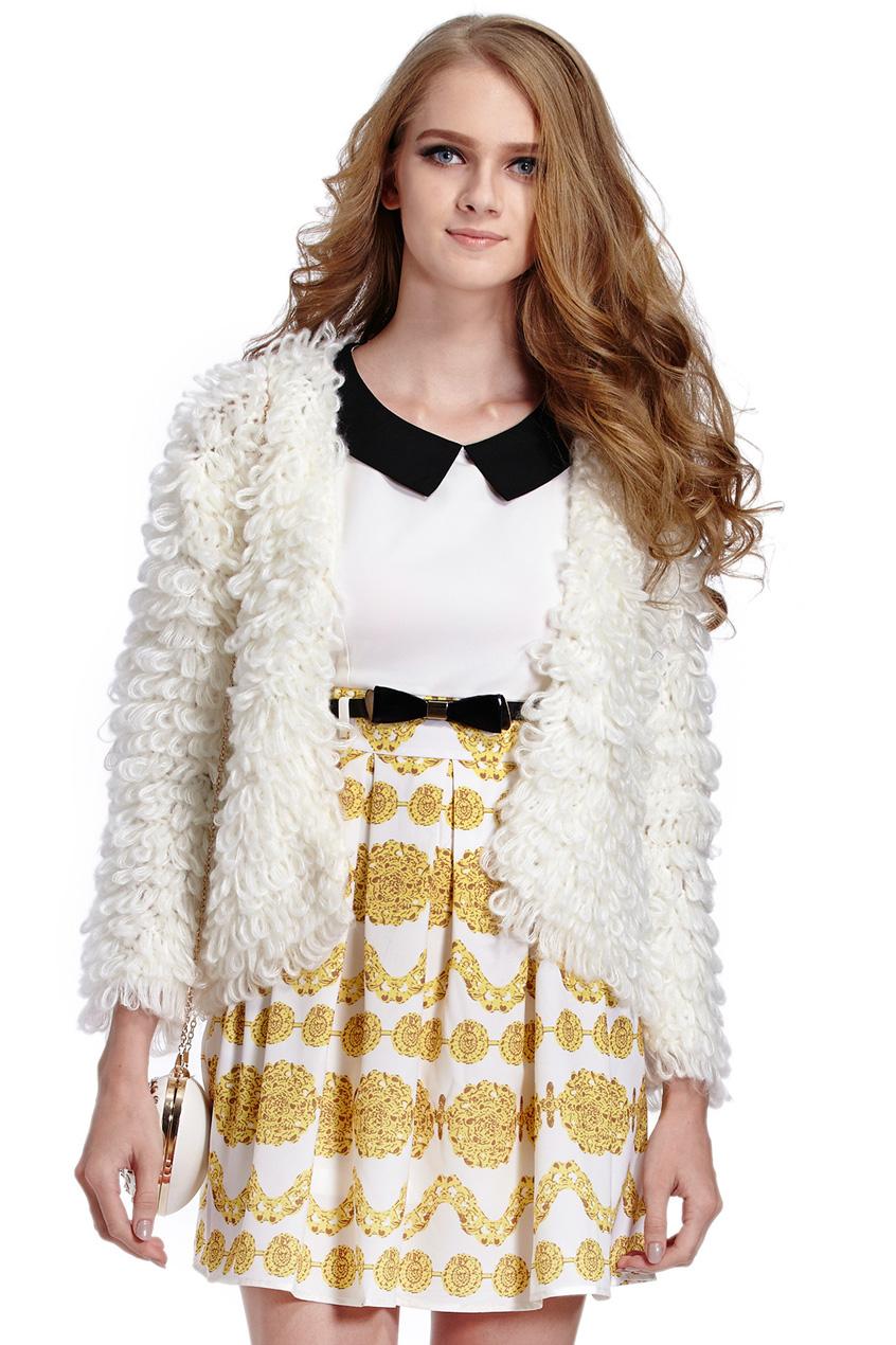 ROMWE   White Long Sleeve Shaggy Slim Cardigan Sweater, The Latest Street Fashion
