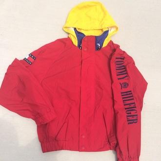 coat tommyhilifier jacket tommy hilfiger red jacket windbreaker