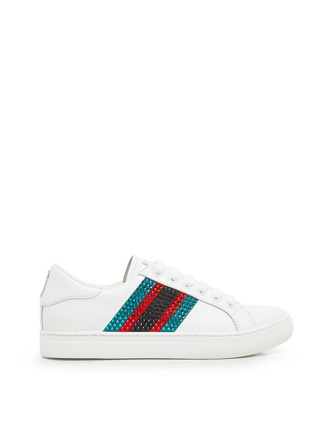 Marc Jacobs Calfskin Empire Strass Embellished Low Top Sneakers White/blue Multi
