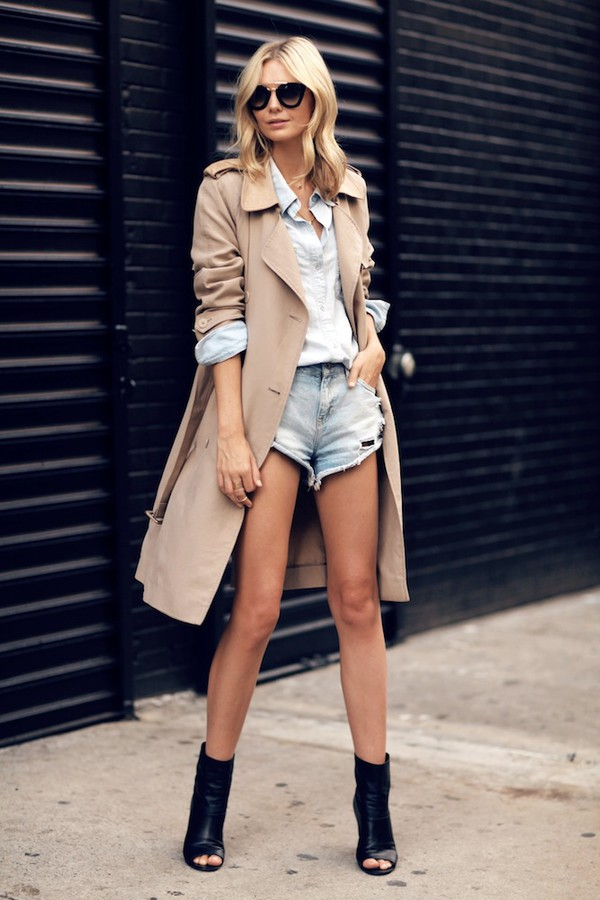 le fashion blogger sunglasses jewels shoes coat trench coat leather boots denim shorts denim shorts white shirt cut out ankle boots