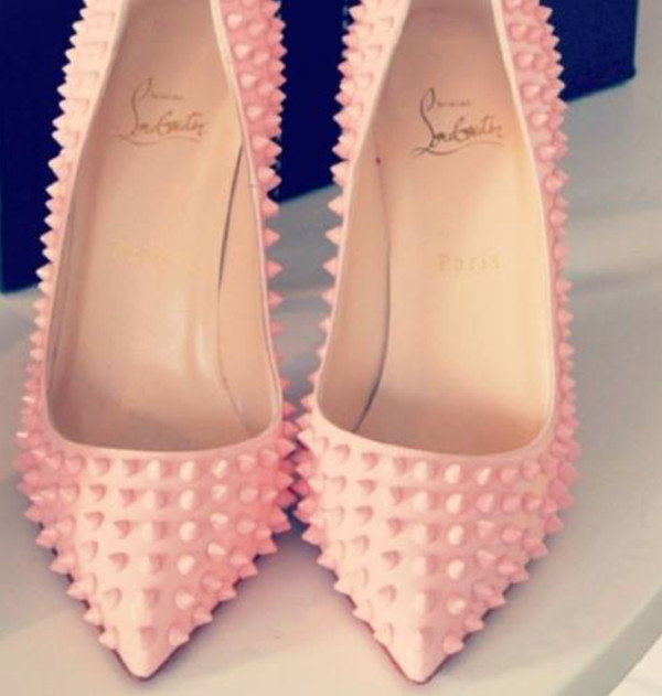 shoes louboutin pink high heels spikes baby pink high heels designer pink heels edgy girly pointed toe heels spike louboutin light pink with light pink  spikes pinky spiky heels pink heels pointed toe pumps