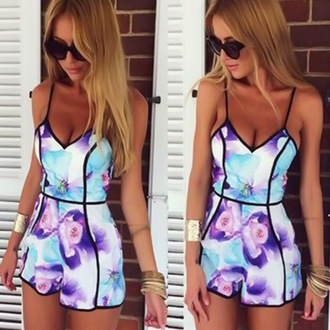 jumpsuit spaghtte strap jumpsuit print jumpsuit floral print jumpsuit summer jumpsuit purple print jumpsuit leggings make-up shoes jewels romper multicolor flowers clothes aummerclothing high waisted design sumeer clothing jumpsuiy mini shorts summer outfits pattern summer outfit