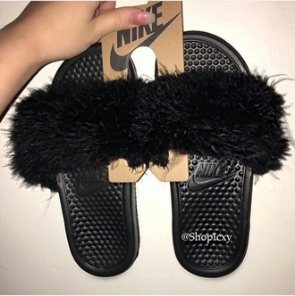shoes nike faux fur slide shoes