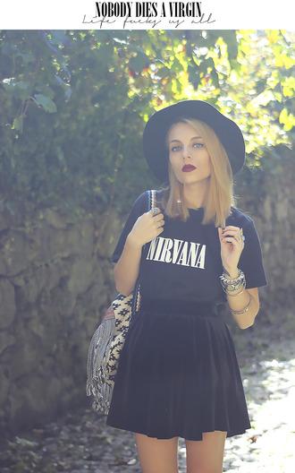 black nirvana hat native american band t-shirt grunge velvet velvet skirt