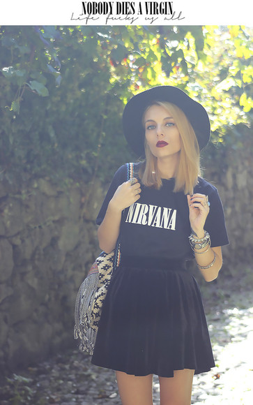native american black nirvana hat band t-shirt grunge velvet velvet skirt