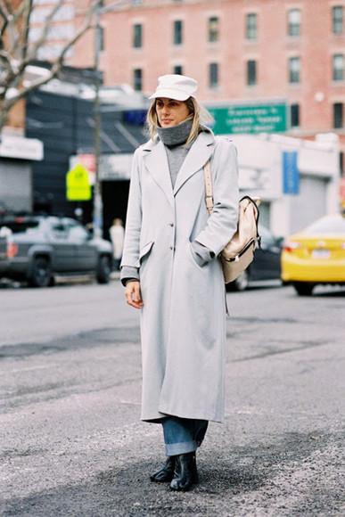 t-shirt cap blogger grey coat vanessa jackman backpack