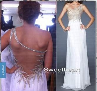 dress gold dress white dress goldandwhite gold and white dress gorgeous dress prom dress prom gown prom dresses elegant dress openback dress one shoulder