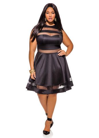 Mesh Cutout Skater Dress Ashley Stewart