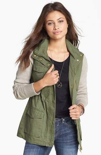 Terrain style. color(s): olive. brand: thread & supply. style name: thread & supply knit sleeve twill jacket (juniors). style number: 970103. $58.00