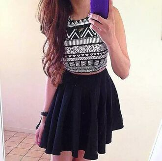 top aztec pretty summer summer outfits crop tops black crop top black and white cute