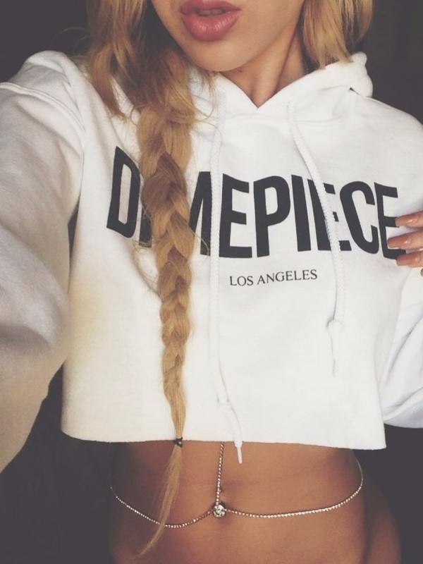 jewels body chain shirt sweater dime price la dimepiece dope cute coat timblr hoodie cropped cropped hoodie crop sweatshirt white dimepiece crop sweater top