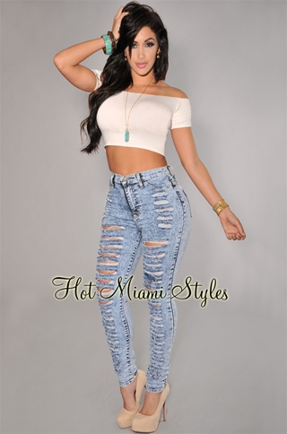 Light Blue Acid Wash Denim Destroyed High-Waist Skinny Jeans
