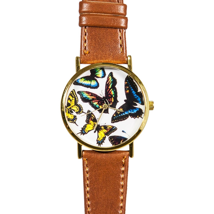 Monarch Butterfly Collection Watch, Vintage Style Leather Watch, Women Watches, Boyfriend Watch