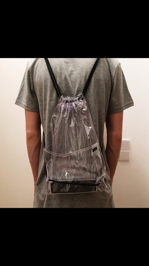 Bien-aimé Womens Girl Boy Fashion Transparent Clear Backpack Plastic Student  XB03