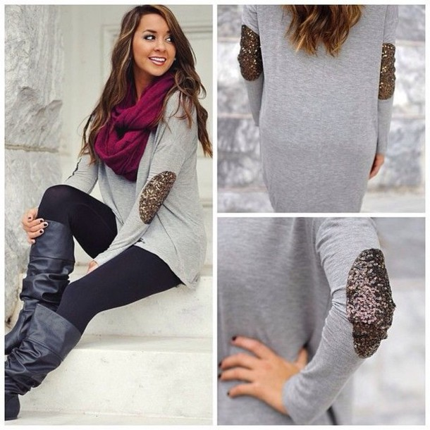 sweater glitter scarf cute pretty elbow patches