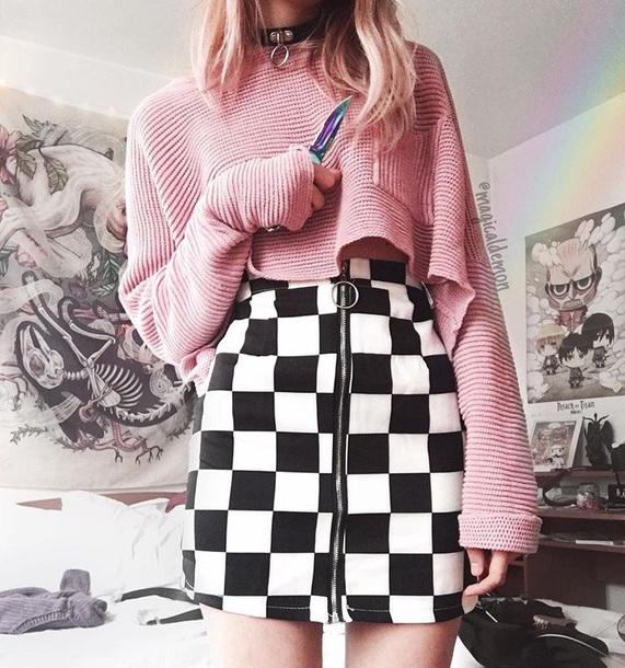 skirt girly black black and white checkered zip zipped skirt tumblr