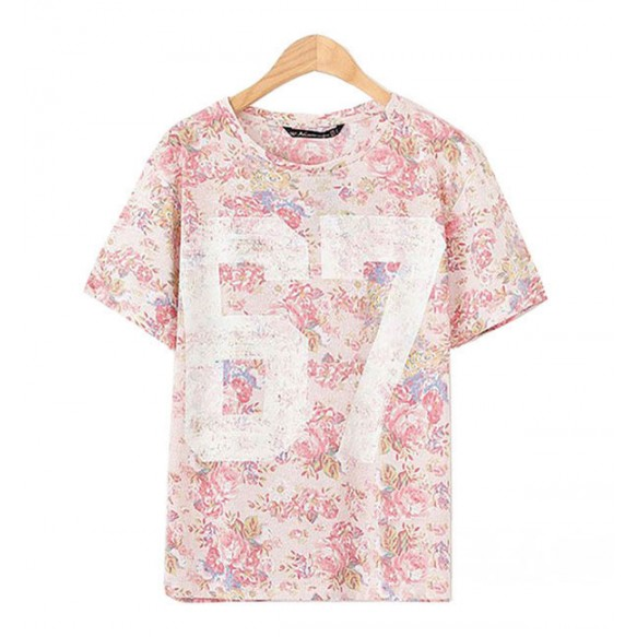 Retro Floral Print Tee at Style Moi