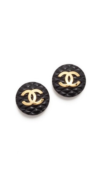 quilted earrings gold black jewels