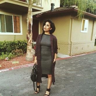 dress midi dress grey grey dress long dress leather bag