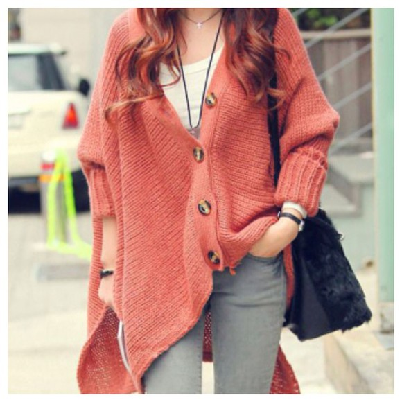 coral cardigan cute oversized sweater knitted cardigan coat fall outfits fashion kawaii girly doublelw clothes knitwear