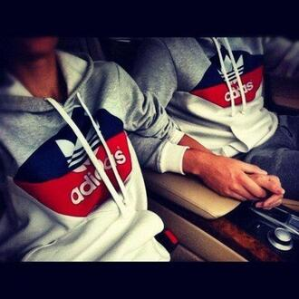 sweater red blue adidas hoodie grey hoodie clothes adidas hoodie adidas sweater logo adidas sweats adidas originals adidasmen jacket belt grey heather adidas grey adidas sweather jumper couple girl boy top blouse fashion jumpsuit grey top grey red white and blue