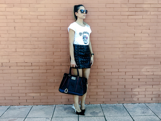 t-shirt graphic tee skirt mini skirt studded skirt faux leather skirt hold-all pumps blogger blogger style