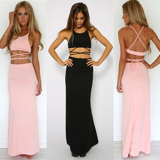 maxi skirt two-piece crop tops halter top lace up tie up pink