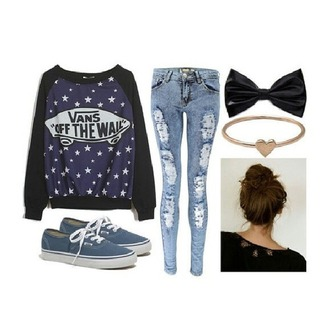 sweater vans of the wall pullover swag stars logo used look used jeans blue skinny jeans vans cool hipster sweater hipster lovely blogger jeans bloggerstyle blogger accessories jeans shoes hair accessory pants