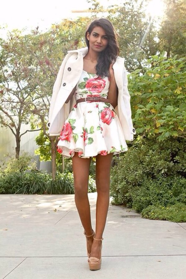 dress white flower dress fashion