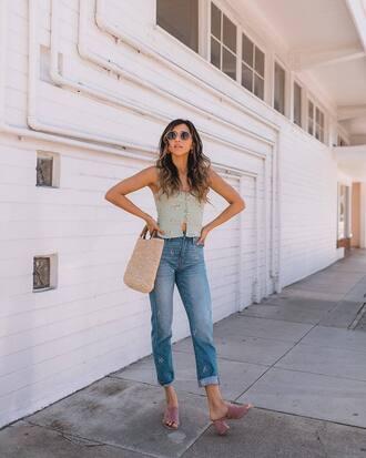 jeans cropped jeans denim top bag big bag sunglasses sandals high heel sandals