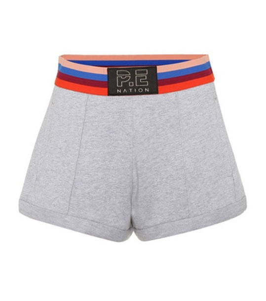 P.E Nation Starting Whistle cotton shorts in grey