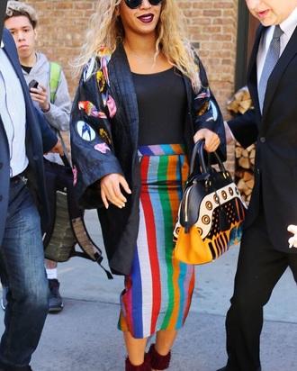 shoes beyonce multicolor midi skirt jacket black top handbag burgundy shoes