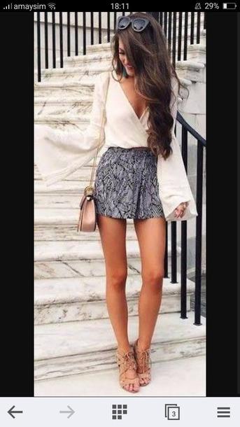 romper top shorrs shorts bag sunglasses