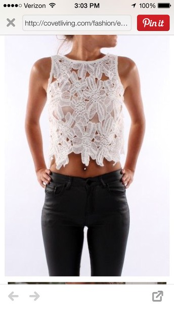 shirt white crop tops lace top