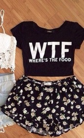 crop,shorts,floral,flowers,quote on it,t-shirt,blouse
