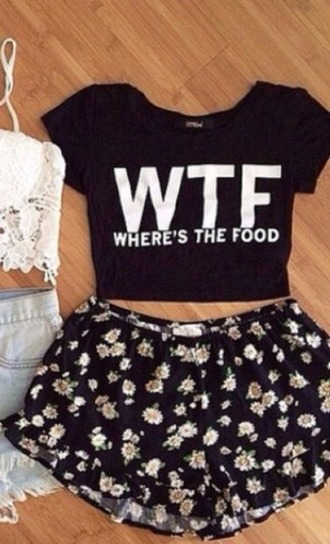 top crop shorts floral flowers quote on it t-shirt blouse