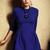 Blue Three Quarter Length Sleeve Flare Dress - Sheinside.com