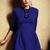 Blue Three Quarter Length Sleeve Flare Dress - Sheinside.com