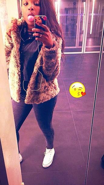 jeans fur coat fur vest converse white shoes fur jacket brown fur jacket iphone case t-shirt