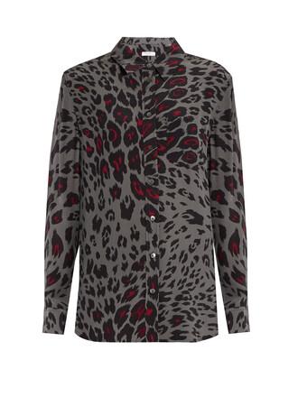 shirt print silk grey top