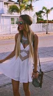 dress,boho,bohemian,crochet,beach,girly,hipster,girly dress,hipster dress,jewels,ebonylacefashion,www.ebonylace.net,www.ebonylace.storenvy.com,white dress,boho dress,detailed,Enonylace,ebonylace.storenvy,ebony lace fashion,Boho necklace at ebony lace,coin necklace,ebonylace,tumblr,white,summer,fashion,style,love,blonde hair,pretty,america,necklace,sunglasses