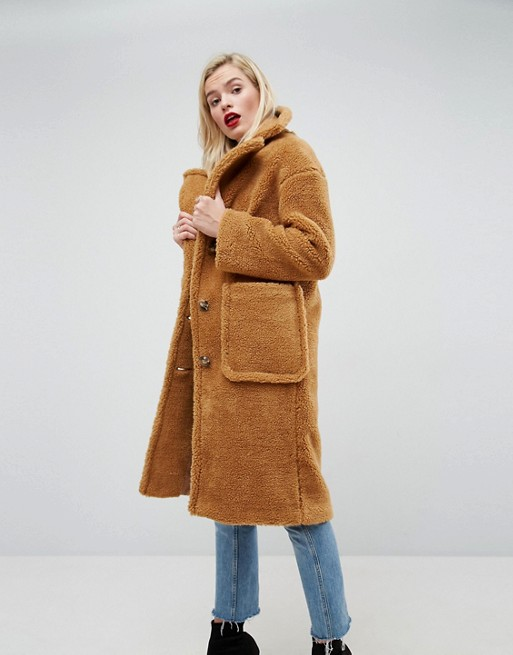 ASOS Coat in Luxe Teddy Borg at asos.com
