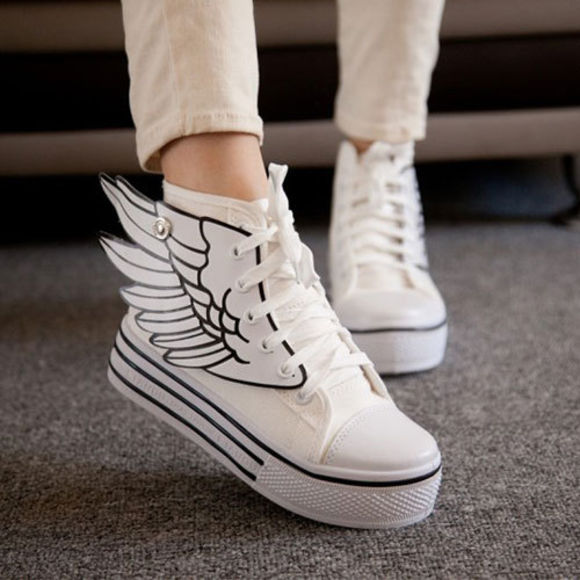 shoes wings thick sole sneakers high top wing shoes platform shoes lace up canvas