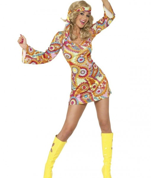 LADIES 1960S 1970S HIPPY HIPPIE GROOVY BABY RETRO COSTUME FANCY DRESS | Amazing Shoes UK