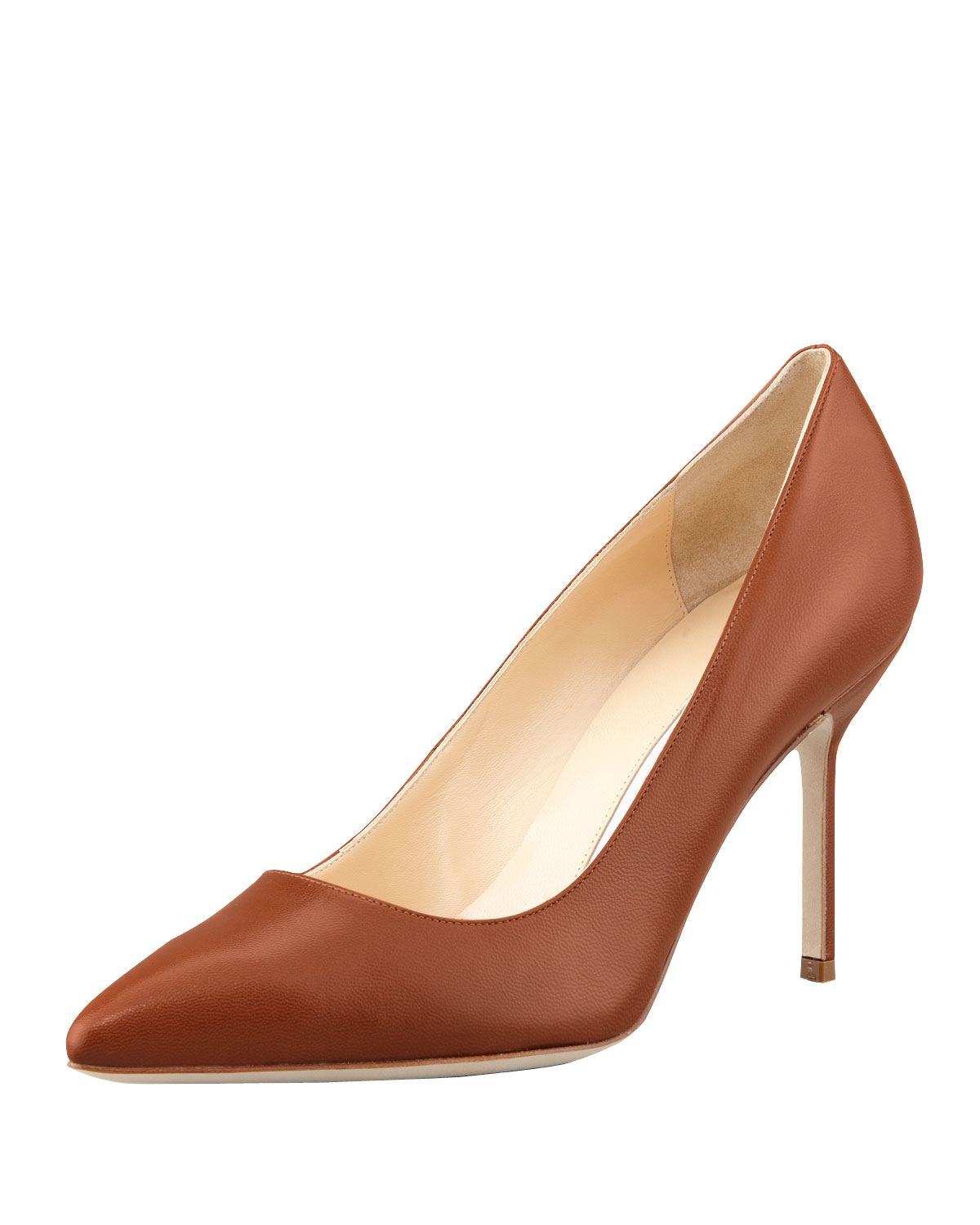 Manolo Blahnik BB Leather 90mm Pump, Caramel (Made to Order)