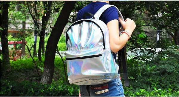 bag silver harajuku hologram laser backpack school bag