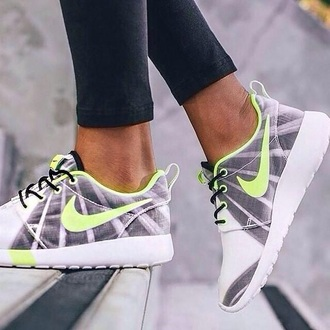 shoes nike shoe nike roshe run yellow grey white