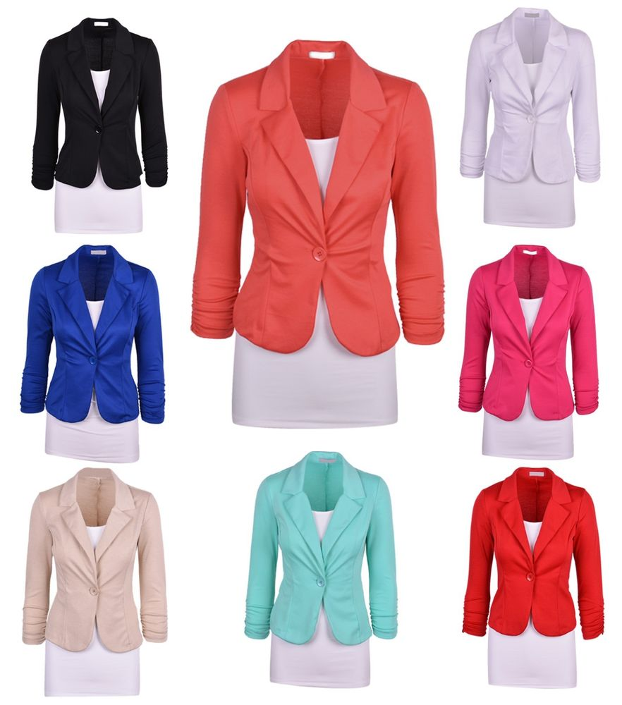Womens Color Blazer Jacket Suit Work Casual Basic Long Sleeve ...